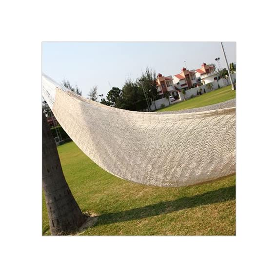 Amber Home Goods Mayan Double Hammock, White - Material Used: Thin cotton ropes and nylon on either side App Hanging Height (of the handles): Min 5 feet off the ground Space for Hanging: Min 13 feet (between the two handles) - patio-furniture, patio, hammocks - 51MZnmbTnoL. SS570  -