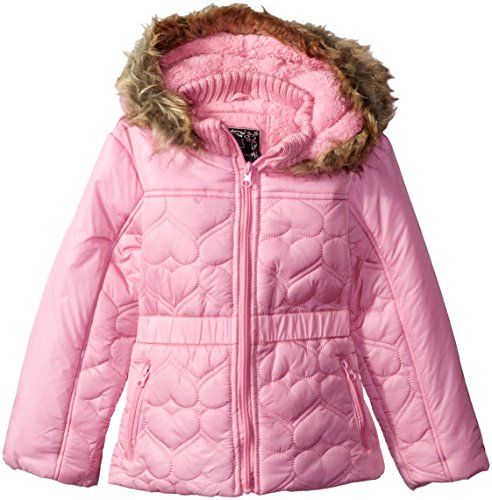 Price comparison product image Ok Kids! Little Girls' Toddler Heart Quilt Design Jacket with Faux Fur Trim Hood,  Pink,  3T