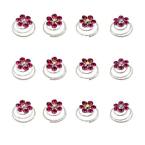 Newstarfactory Rhinestone Studded Collection Flower Spiral Hair Pin Pack of 12 with Exclusive Gift (Hot - Spiral Flower