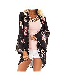 JESPER Women Chiffon Lightweight Floral Print Lace Coat Tops Suit Kimono Cover Smock