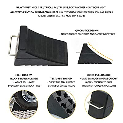 AFA Tooling Chock Blocks - 2 Rubber Wheel Chocks, Best Tire Block for Camper, Trailer, RV, Truck, Car and ATV with Heavy Duty Wedge Design and Tie Down Hoop and Grip Bottom for Garage: Automotive