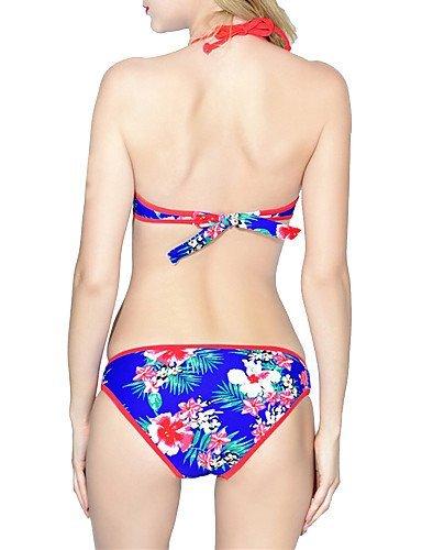 ZQ Womens Floral Push Up acolchada Bikini Set, royal blue-xl, extra-large yellow-m