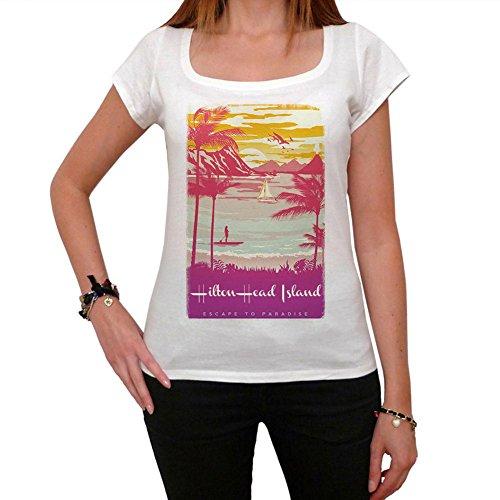 Hilton Head Island, Escapar al paraíso, La camiseta de las mujeres, manga corta, cuello redondo, blanco blanco