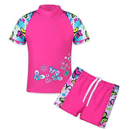 TFJH E Girls Swimsuit UPF 50+ UV Two Piece Swimwear Butterfly Short 8-9Years 10A ()