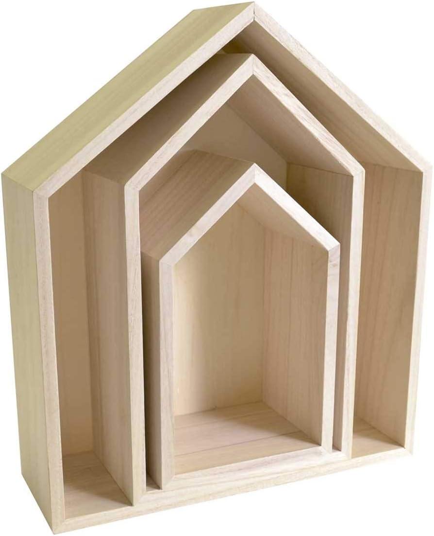 Artemio 14001999 - Set de 3 estantes para decoración de casa, Madera, Beige, 30 x 10 x 34,5 cm