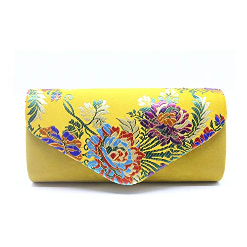 Yellow Clutches Purse And Handbags Suede Embroidered Floral Shoulder Bag,silver