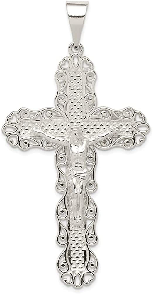 925 Sterling Silver Polished and Textured Large Floral Cross With Jesus Pendant