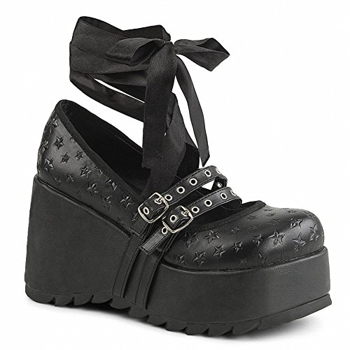 Demonia Scene-20 Women 3 1/2 Platform Star Embossed Double Strapped Mary Jane Blk Veganistisch Leer