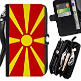 STPlus Republic of Macedonia Macedonian Flag Wallet Card Holder with Strap and Zipper Cover Case for HTC Desire 616 Dual Sim