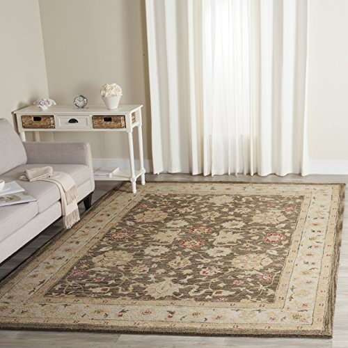 Safavieh Antiquities Collection AT853A Handmade Traditional Oriental Olive Grey and Beige Wool Square Area Rug (6' Square) - Safavieh Antiquities Olive