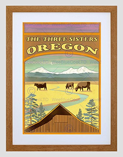 The Art Stop Travel Oregon Three Sisters Mountain Cattle Cow Lodge Framed Print B12X12369