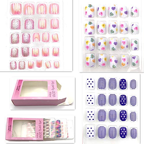 64pcs Colorful artificial false nails, Disposable Mini fake nail bar for kids with multi pattern and colors (F)