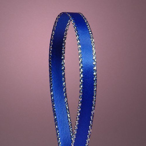 - Royal Blue Satin Ribbon with Silver Border, 1/4