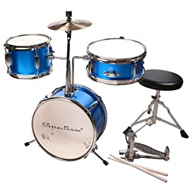 Spectrum AIL 3-Piece Junior Drum Set with 8-Inch Crash Cymbal and Drum Throne 10