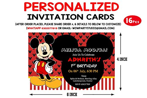 WoW Party Studio Personalized Mickey Mouse Theme Birthday Party Invitation Cards with Birthday Boy/Girl Name (16 Pcs)