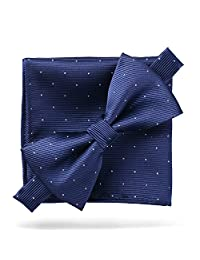 Men's Fashion Silvery Dots Pre-tied Bowtie Pocket Square Set (Silvery Dots Navy)