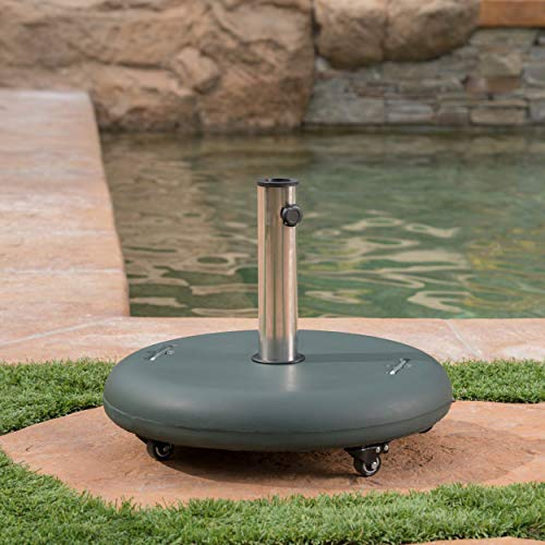 Great Deal Furniture 303987 Louise Outdoor Green Concrete Circular 80lb Base with Steel Umbrella Holder, 21.65 x 21.65 x 17.00,