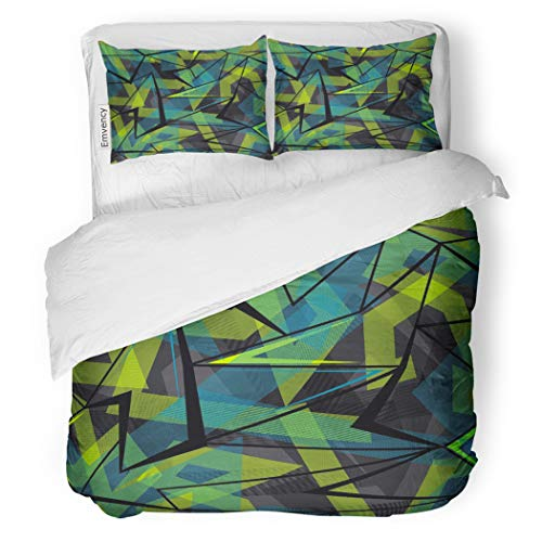 SanChic Duvet Cover Set Abstract Geometric Pattern Urban for Boys Lines Triangles Decorative Bedding Set with Pillow Sham Twin Size -