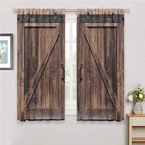 hengshu Rustic Light Blocking Curtains for Living Room Wooden Barn Door in Stone Farmhouse Image Vintage Desgin Rural Art Architecture Print Bedroom Curtains Decor W100 x L84 Inch Beige