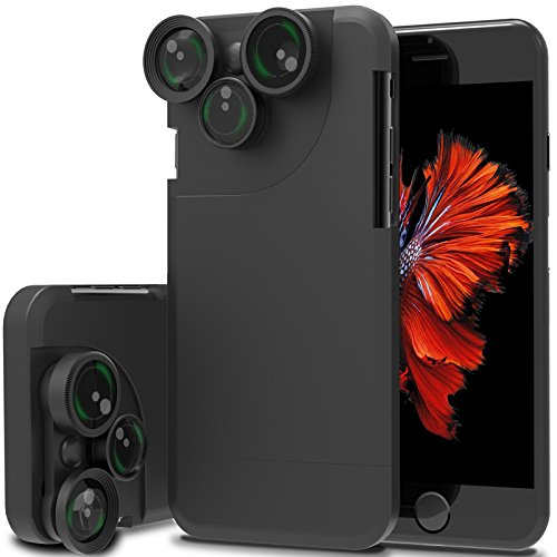 outlet 4 In 1 Wide Angle Fish Eye Macro Telephoto 360° Rotation Camera Lens Kit Case For iPhone 7Plus (Black)