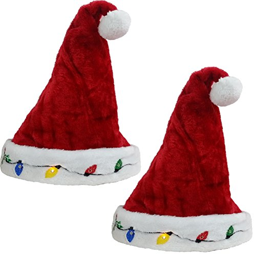 2 Blinking Santa Costume Hats - Funny Party Hats (Funny Santa Costumes)