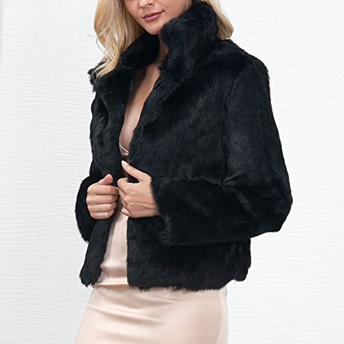 Womens Fashion Solid Color Stand Collar Long Hair Faux Fur Jacket Coat Winter Warm Keeping Casual Overcoat Outwear at Amazon Womens Coats Shop