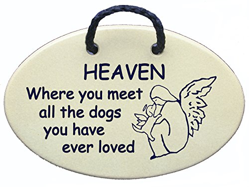Paw Print Design Stoneware (Heaven, where you meet all the dogs you have ever loved. Wall plaques handmade in the USA for over 30 years. Introductory price for this new)