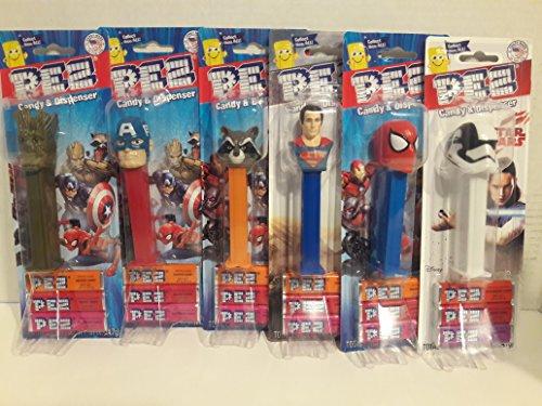 SUPER HEROx HOT 6 Piece PEZ CANDY PACK -
