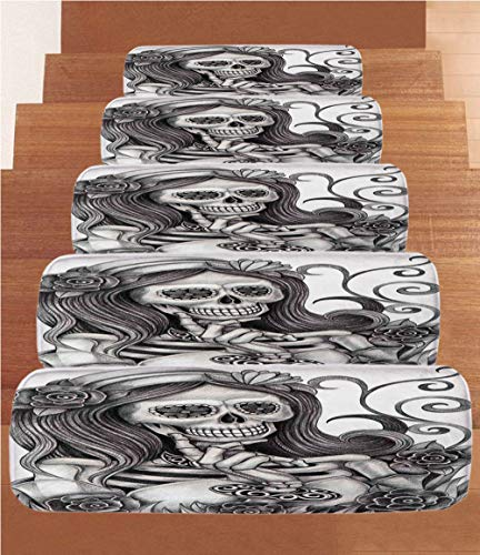SoSung Skull Coral Fleece Stair Treads,Stair Tread Mats,Sexy Skull Girl with Floral Veil Ceremony Day of The Dead Bride Skeleton Lady Art,(Set of 5) 8.6