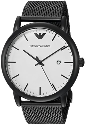 Emporio Armani Men's Quartz Stainless Steel Dress Watch, Color:Black (Model: - Armani Ar Watch