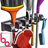 Berry Ave Broom Holder and Garden Tool Organizer for Rake or Mop Handles Up to 1.25-Inches (Black)