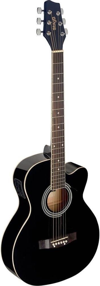 Stagg SA20ACE BLK - Guitarra electro acústica, color negro