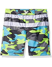 Boys' Camo With Stripe Swim Trunk