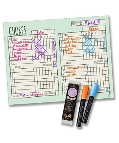 Jennakate - Magnetic Multiple Child Behavior Reward Chore Chart -