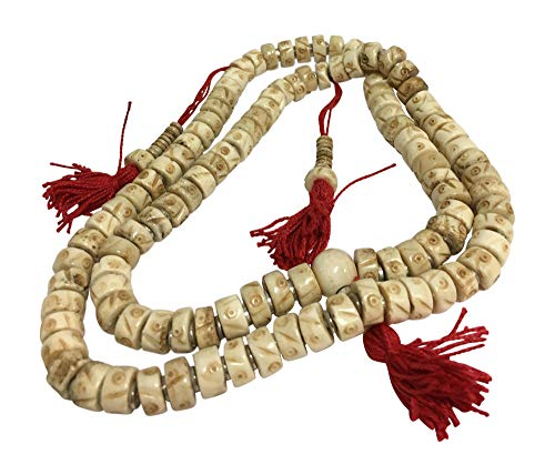 Tibetan 108 Count Bone Carved Bead Japa Mala Hindu Prayer Yoga Meditation Necklace (White)