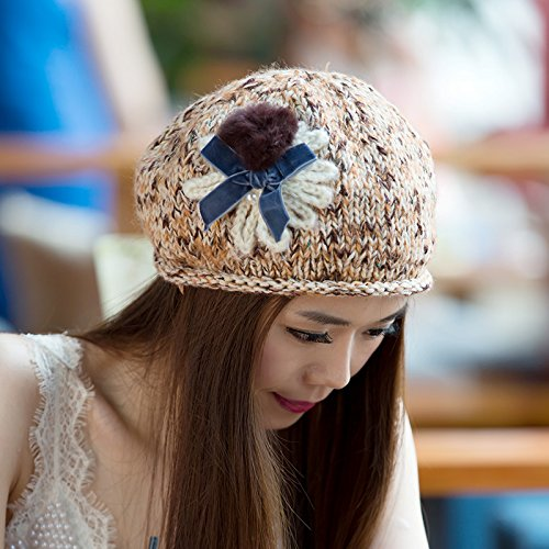 del Gorra 1 la Volumen Flores Grueso versión Coreana a Maozi de Punto al Invierno Aire otoño Junto Lana Libre 3 para Boina Fox z4BRvB