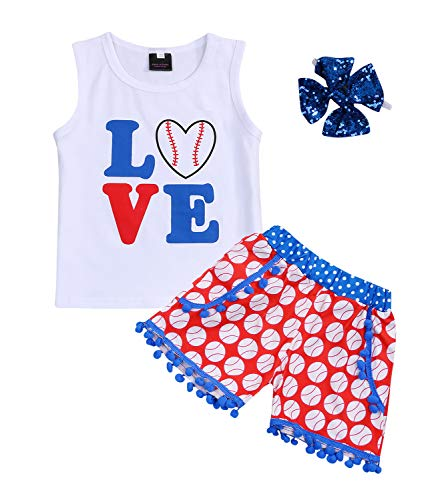 Kids Toddler Baby Girls Shorts Outfits Set Baseball Love Print Vest T-Shirt Tops+Tassel Short Pants Summer Clothes (Baseball, 18-24 Months) ()