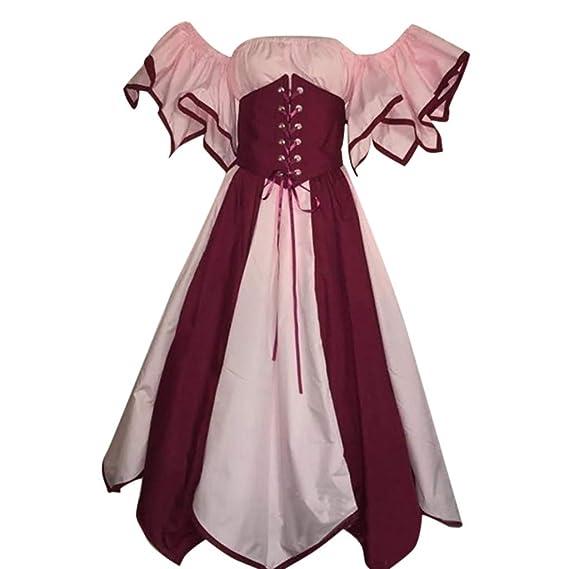 Culater Vestido Vestido Elegante De Manga Corta con Pétalos Cortos Y Medievales Vestido Medieval De Cosplay: Amazon.es: Ropa y accesorios