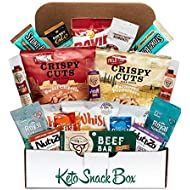 Keto Snack Box (20 Count) - Ultra Low Carb Snacks, Ketogenic Friendly, Gluten Free, Low Sugar - Healthy Keto Gift Box Variety Pack - Protein Bars, Pork Rinds, Cheese Crisps, Nuts, Jerky