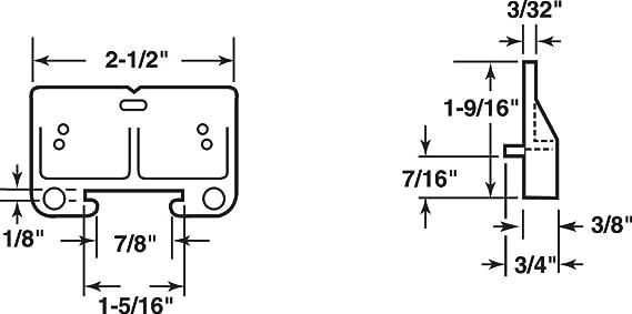 "Prime-Line Drawer Track Guide Kit W 2-1//2/"" Orange"