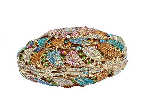 Yilongsheng Mesdames cristal Cercle perlé Sacs de mariage avec coloré floral(Multicolore)