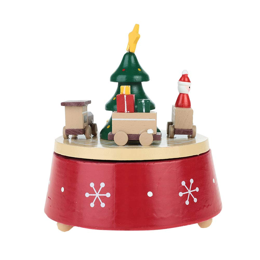 Hanbaili Wooden Music Box Christmas Music Box Festivous Puddle Jumper Red Crafts Gifts