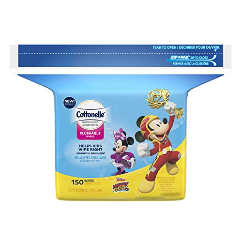 Cottonelle Flushable Toddler Wipes for Kids, Refill, 150 ct Each Refill (Case of 8) Fragrance-Free Wet Wipes in Disney Packaging, Mickey Mouse ()