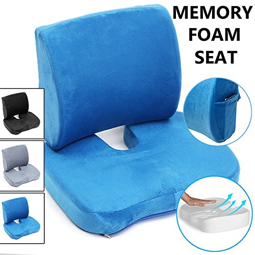Essort Seat Cushion U-shaped Memory Foam Back Lumbar Support Provides Pillows Coccyx Sciatica Tailbone Relief For Office Chair Car Sofa Wheelchair Outdoor with Washable Cover Blue - Hand U-shaped Desk