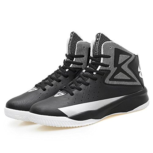 Men's Air Performance Allstart Light Sports Shoe Running Casual High Cut Breathable Mid Basketball Shoes Sneaker for Boy(Black-Silver,EUR39) (Kevin Durant Shoes 2018)