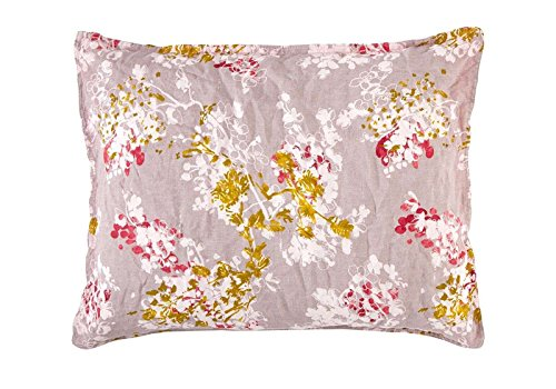 Yves Delorme Sieste Sorbert Floral Solid Reversible Boudoir Pillowcases 100% Linen Stone Washed New Pair (2 Piece) ()