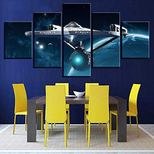 Fbhfbh Wall Art Hd Prints Picture Home Decoration Star Trek 5 Pcs Movie Canvas Painting for Living Room Modular Pictures Artwork Poster,12X16/24/32Inch,Without -