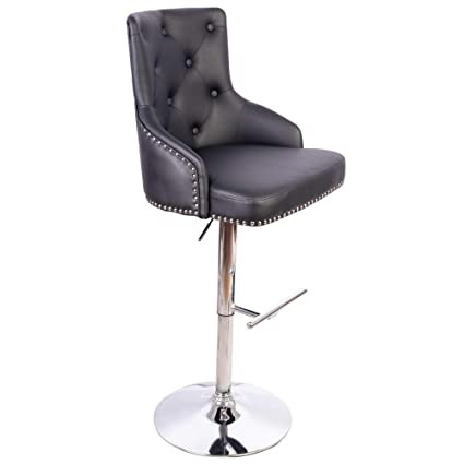 Admirable Irene House Adjustable Height Pu Leather Bar Stool Tufted Upholstered Barstool With Footrest Swivel Dining Chair Black Bar Chair Gamerscity Chair Design For Home Gamerscityorg