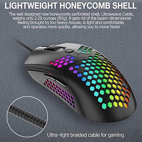 SONPP RGB Lightweight Gaming Mouse 12000DPI Optical Sensor with Lightweight Honeycomb Shell Ultralight Ultraweave Cable