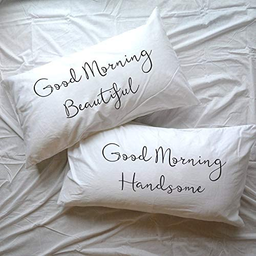 prz0vprz0 V Pack of 2 Lumber Pillow Cover 12 x 20 Inch Good Morning Handsome Beautiful